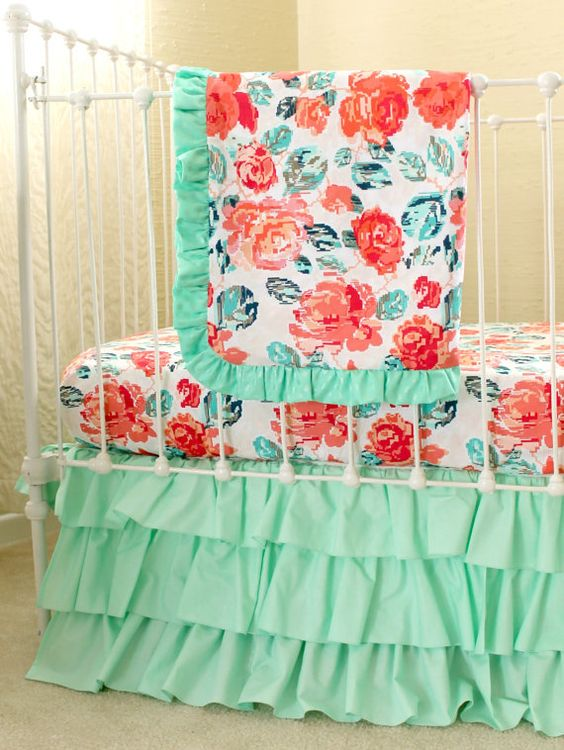 Pixie Park Coral Mint and Navy Baby Bedding by LottieDaBaby
