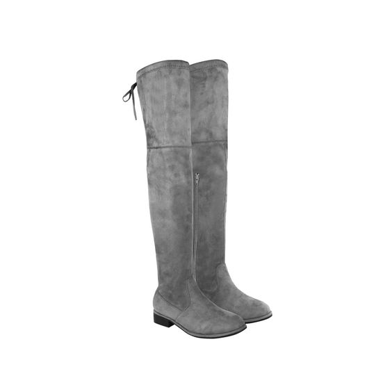 Grey Suede Over The Knee Low Block Heel Lace Up Back Flat Boots - Rocket