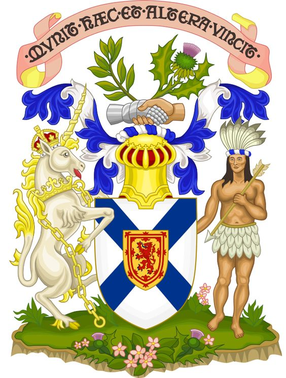 The coat of arms of the province of Nova Scotia is the oldest provincial achievement of arms in Canada, and the oldest British coat of arms outside Great Britain. It was granted in 1625 by King Charles I for the first Scottish colony on the Canadian mainland. The arms were also borne by the Baronets of Nova Scotia, a chivalric order. They fell out of use when Nova Scotia joined the Confederation in 1867, but were restored in 1929.