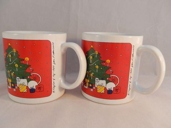 2 Taylor  Ng Coffee Mugs Joyous Noel Christmas Trees 1980 #TAYLORNG