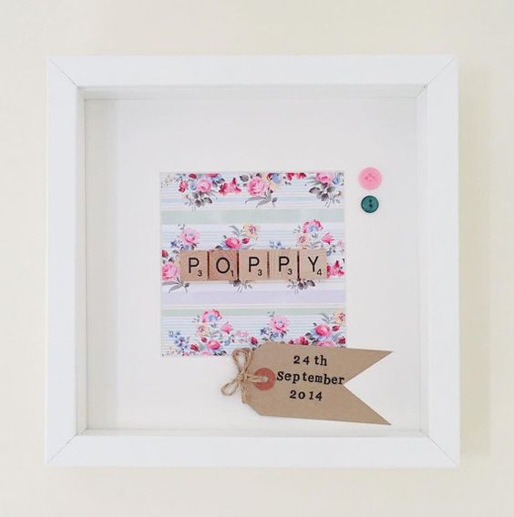 Personalised Name Frame with Scrabble letters by FlorenceandBow