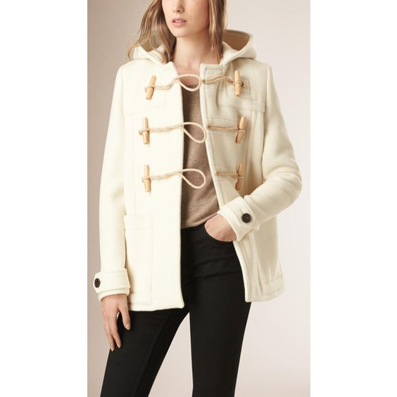 Burberry Hooded Wool Blend Duffle Coat ($1145) ❤ liked on