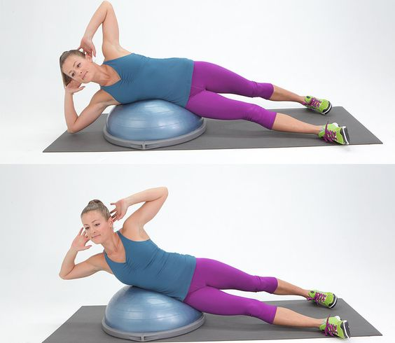 Work your glutes with this bridge variation.      Position the BOSU at the top of your mat and sit in with your back towards it. Lean your...