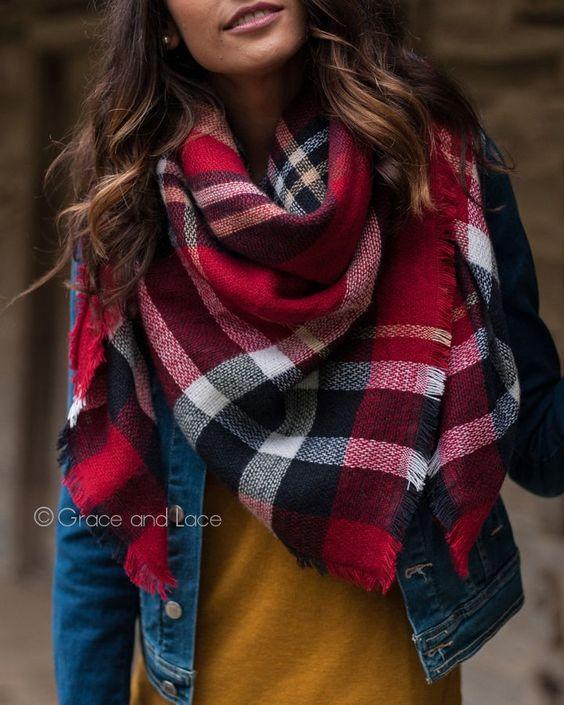 Beautiful & warm plaid blanket scarf