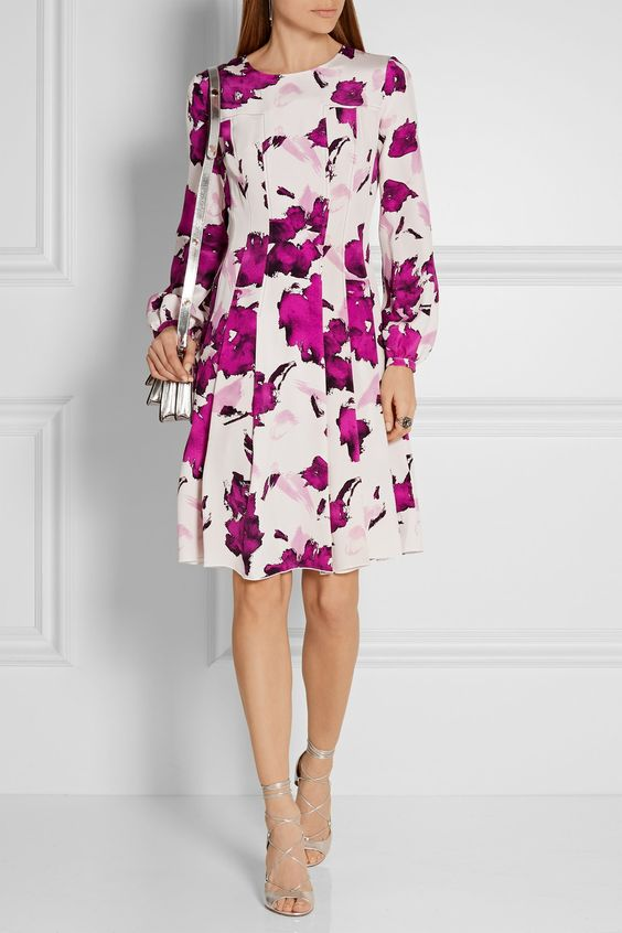 Oscar de la Renta | Pleated floral-print silk dress | NET-A-PORTER.COM