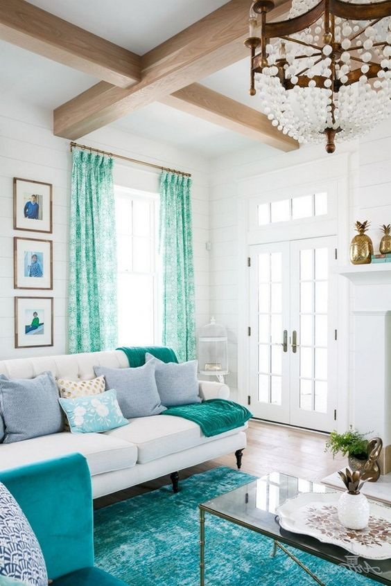 25 Most Beautiful Turquoise Living Room Ideas With Chic Decors