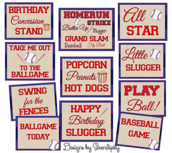 Baseball Party Signs, Nstant Download, DIY, Printables