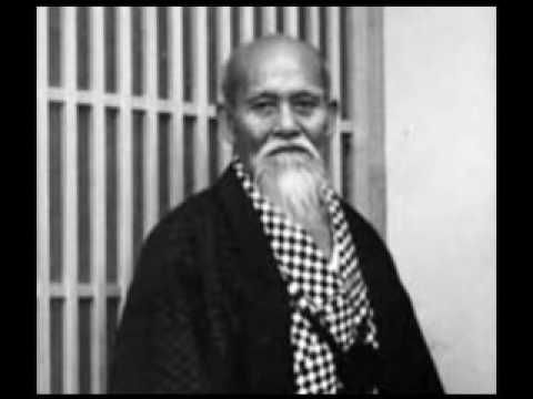 Old, black and white photos of the Aikido Founder.