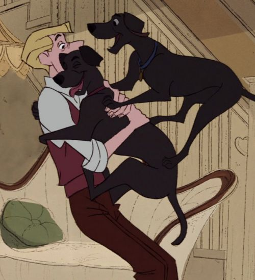 ロジャーに抱き着くポンゴとパーディタ