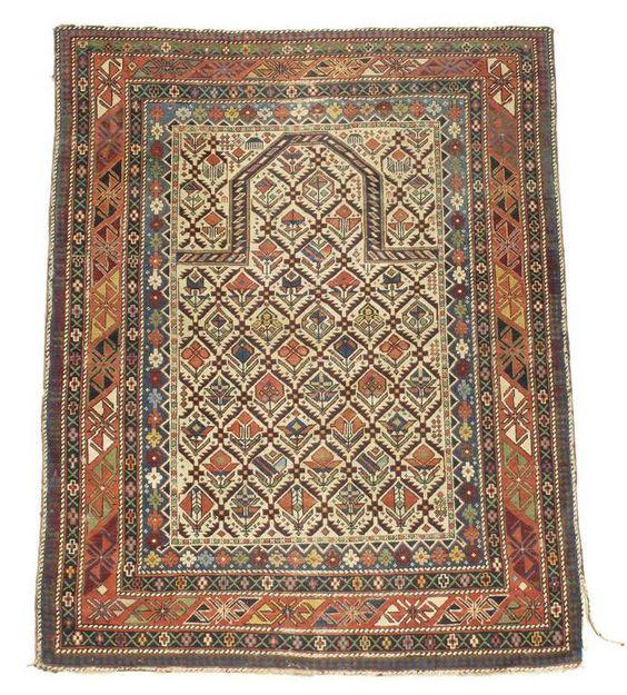 Woolley and Wallis - Kuba prayer rug, north east Caucasus, late 19th century, 56.5 x 43.5in (144 x 111cm).