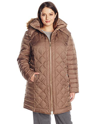 Kenneth Cole Women's Plus-Size Diamond Quilt Down Coat in Canyon