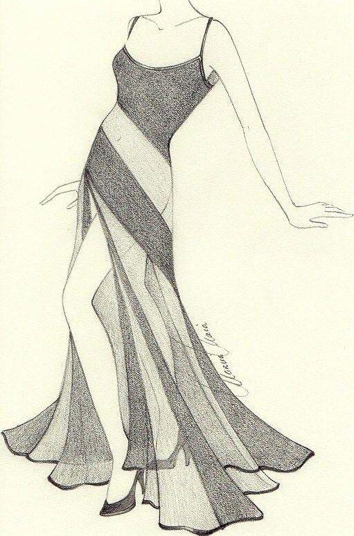 sweeping skirt; sheer; lounge act