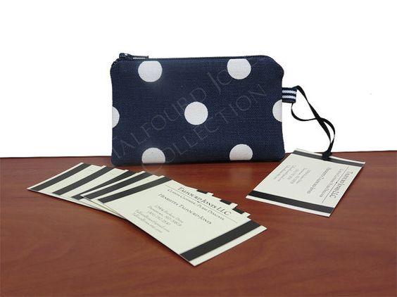 Navy Blue Polka Dot Ring Case - Slim Zipper Coin Wallet - Business Card Case - Store Card Case - Cufflink Case - Knitting Notions by TalfourdJones