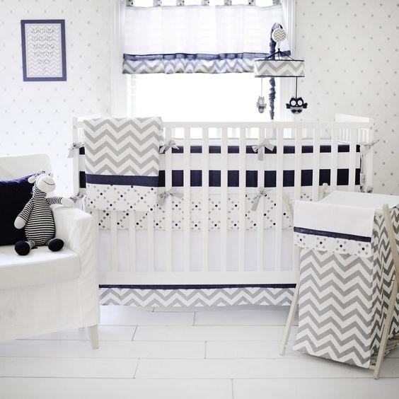 Out Of The Blue Baby Nursery Bedding Crib Set 8 PC My Baby Sam Navy Chevron Grey #MyBabySam