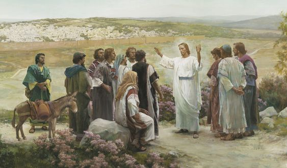Harry Anderson's painting of Christ with His apostles on the Mount of Olives.  I've seen Harry Anderson's paintings since I was little.  Love his work.