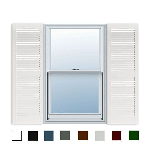 15 Inch X 39 Inch Standard Louver Exterior Vinyl Window Shutters White Pair Window Vinyl Window Shutters Window Shutters Exterior