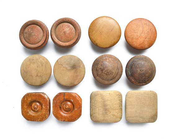 This is a wonderful collection of 12 vintage wooden knobs, 2 each of 6 designs.  They are straight from a barn sale, and could use a bit of cleaning!  They are old, some are stained and have lost their finish, but very strong and full of possibility.  The last photo has rulers for approximate measurements. These do not have screws- but easily found at the hardware store.  Thank you for looking