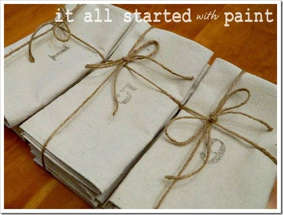 how to make napkins from painters cloth