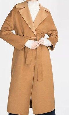 ZARA-WOMAN-fait-main-laine-manteau-long-taille-M-derniere