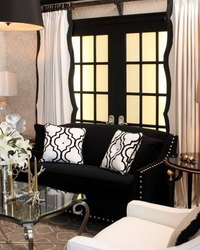 White Curtains black and white curtains for living room : scalloped trim .... is more work but it adds interest and shape to ...
