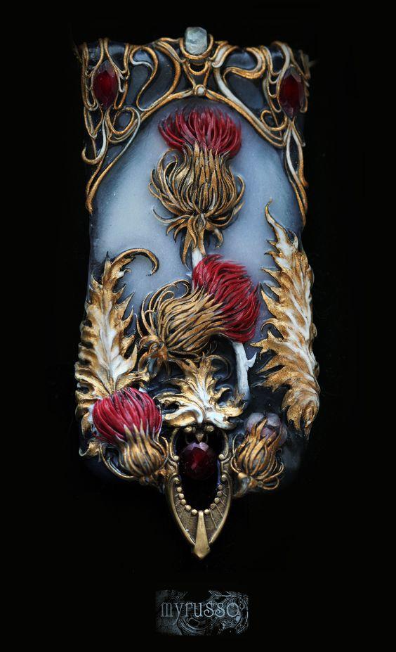 "Set ""Chardon royale"" (hairpin and зendant).Polymer clay, pastel, paint, moonstones, garnet, metal furniture.Collection ""Jardin de mémoires""."