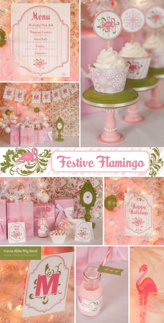 flamingo+party+ideas | Flamingo - Tropical Christmas Holiday - Printables - Party Decorations ...