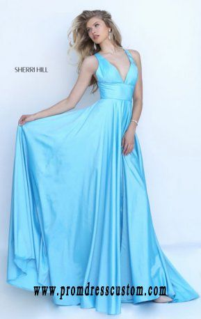 Light Blue V-Neck Bodice Long Slit Prom Dresses 2016 Sherri Hill 50296 Open-Back