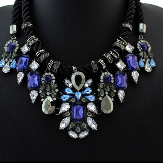Blue Rhinestone Statement Collar Necklace