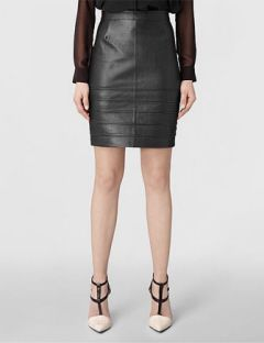ALL SAINTS Pipe Leather Pencil Skirt