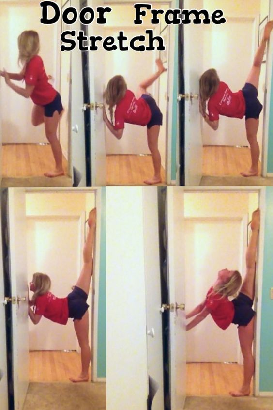 How to do a Door Frame Stretch! Great for leg and back flexibility! Slide your leg up the door frame, I would suggest using a sock or cloth to help your leg slide! Your bottom foot can be right next to the frame or farther out depending in your flexibility, farther out is harder and works hyper extensions! Once your up and comfy don't be afraid to push with your arms and play with arm placement! I would be sure to do an ab workout after to help back soreness! (This is me) -brennadearly