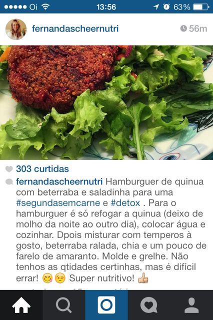 Hamburguer quinoa via @fernandascheernutri