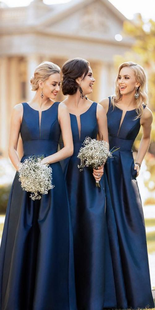 Simple Navy Satin Bridesmaid Dress with Pockets