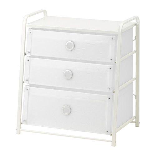 LOTE Byrå med 3 lådor IKEA Kan även användas som sängbord. Den lätta byrån är enkel att flytta eftersom handtagen är en del av gavlarna.: