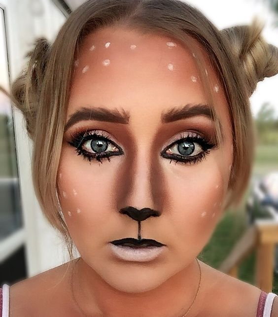 Easy deer Halloween makeup                                                                                                                                                                                 More