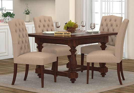 Elance 4 Seater Dinning Set Walnut Finish 4 Seater Dining Table Four Seater Dining Table Dining Table Round table set for 4