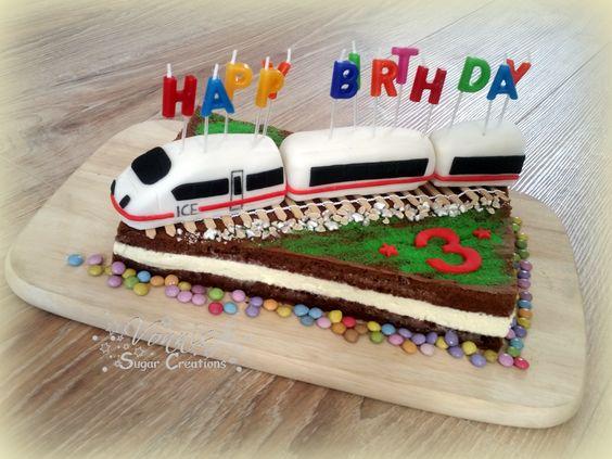 ICE train cake fondant 3 birthday child boy  Milchschnitte Kuchen Torte Geburtstag Kinder Vonnis Sugar Creations
