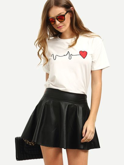 White Short Sleeve Heart Print T-shirt