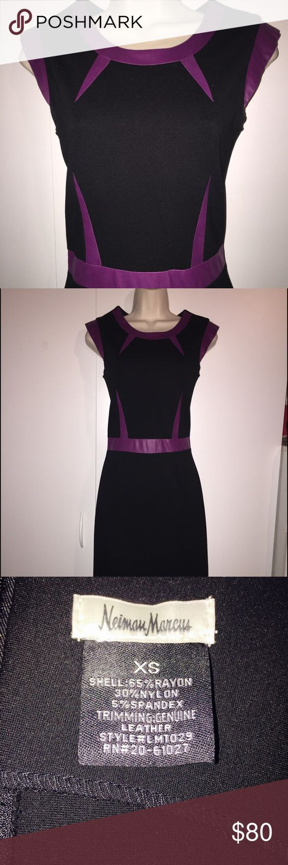 Neiman Marcus Black Dress w Purple Leather Accents This show stopping Neiman Marcus dress will bring you unlimited compliments! Black dress with genuine leather purple accents which are extremely figure flattering! Size XS. Comes from a non-smoking home. Neiman Marcus Dresses