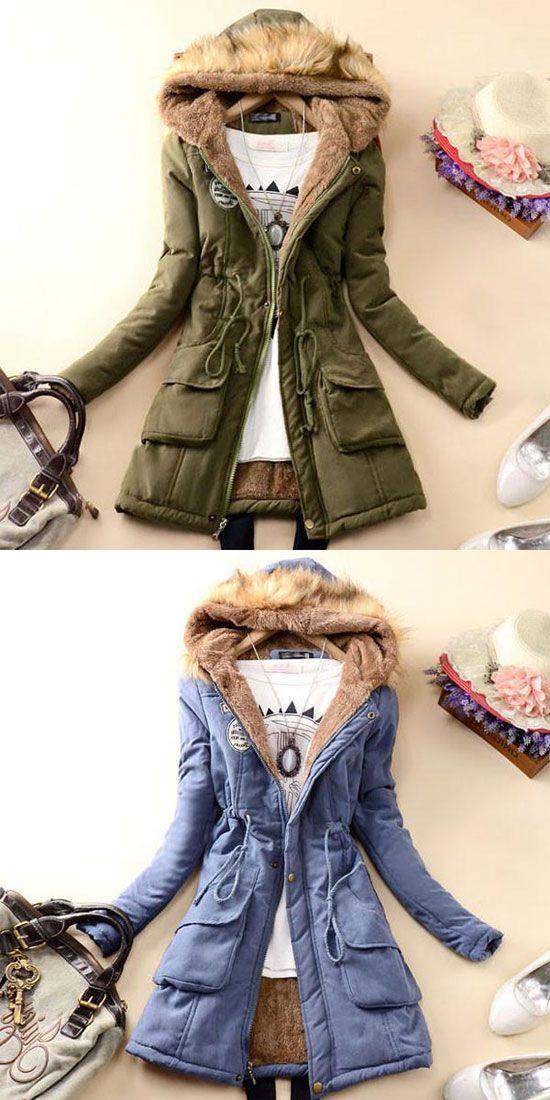 Nice Fashion Slim Wool Hooded Long Winter Cotton Coat