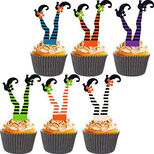 Jetec 24 Pieces Halloween Witch S Boot Paper Cupcake Toppers And