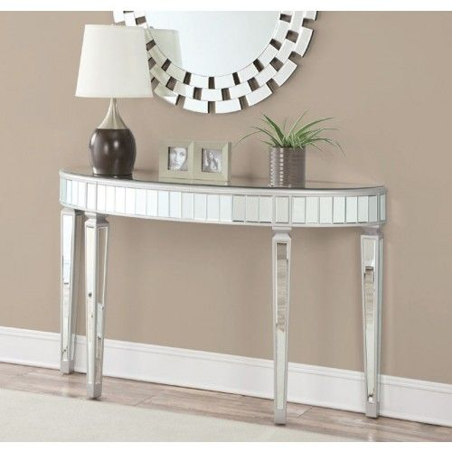 Coaster Furniture 950183 Silver Console Table 950183 Mirrored Console Table Mirrored Sofa Table Silver Console Table