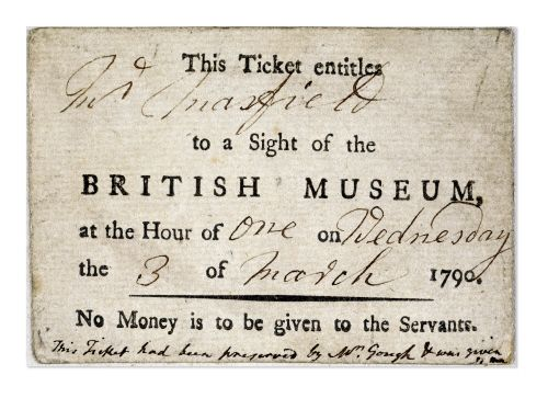 """""""The British Museum opened its doors to visitors in 1759. Only a small number of tickets were issued for each day, and visitors were taken round the Museum in groups of five."""" This ticket in particular dates from 1790."""