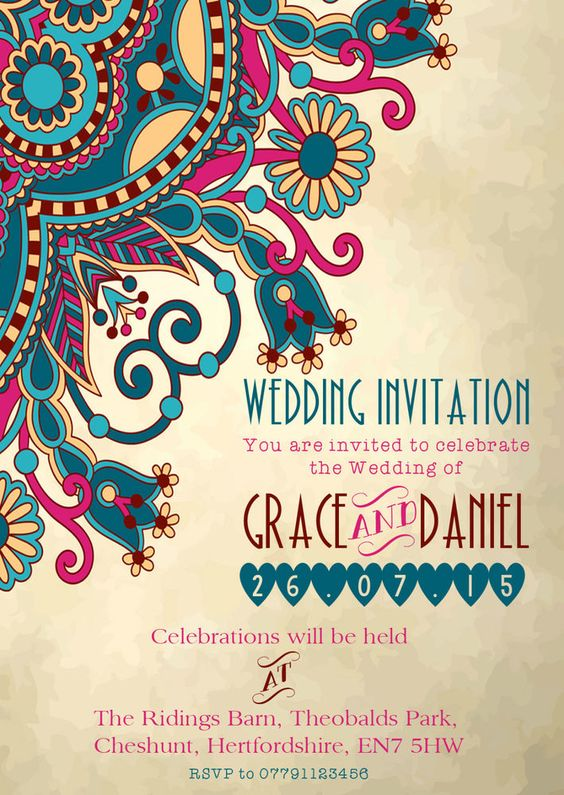 Details about PERSONALISED MOROCCAN/INDIAN ELEGANT WEDDING INVITATIONS PACKS OF 10 Home