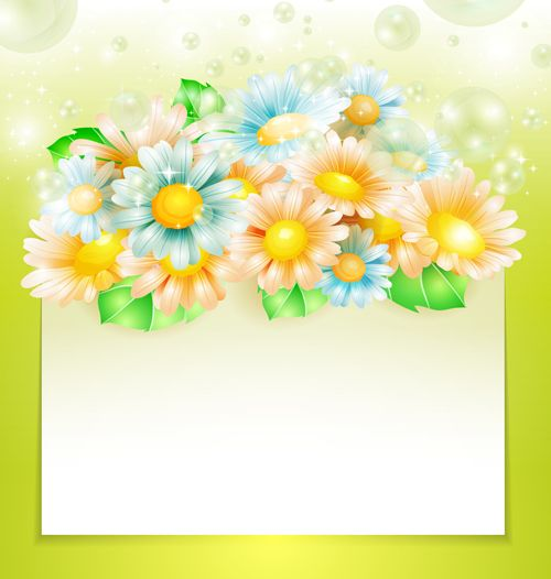 Creative Wallpapers: Shiny Spring Flowers Creative Background Vector 01