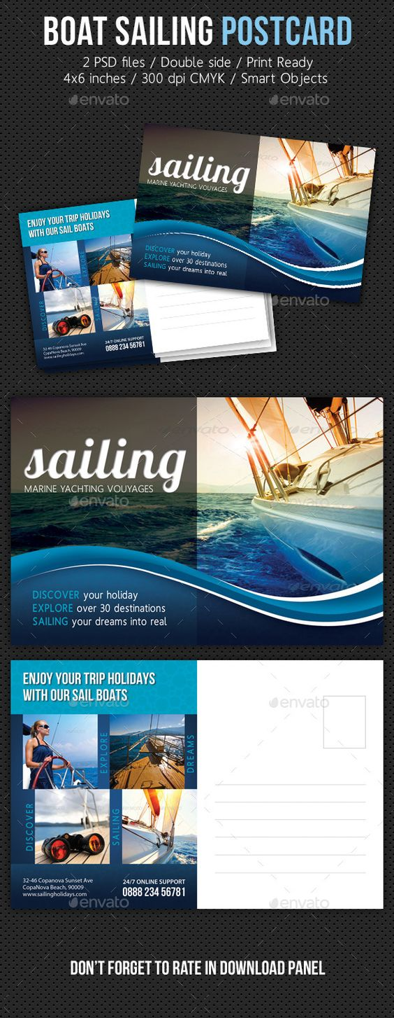 Boat Sailing Postcard Template V02 — Photoshop PSD #island #marine • Available here → https://graphicriver.net/item/boat-sailing-postcard-template-v02/10477161?ref=pxcr