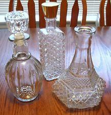 3 Vintage DIAMOND CUT Glass Liquor Decanter Bottles, Captains Ship Decanter