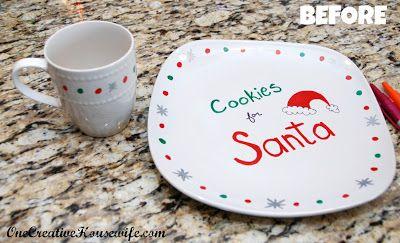 12 Days of Christmas Day 5 {DIY Santa Cookie Plate} - onecreativemommy.com