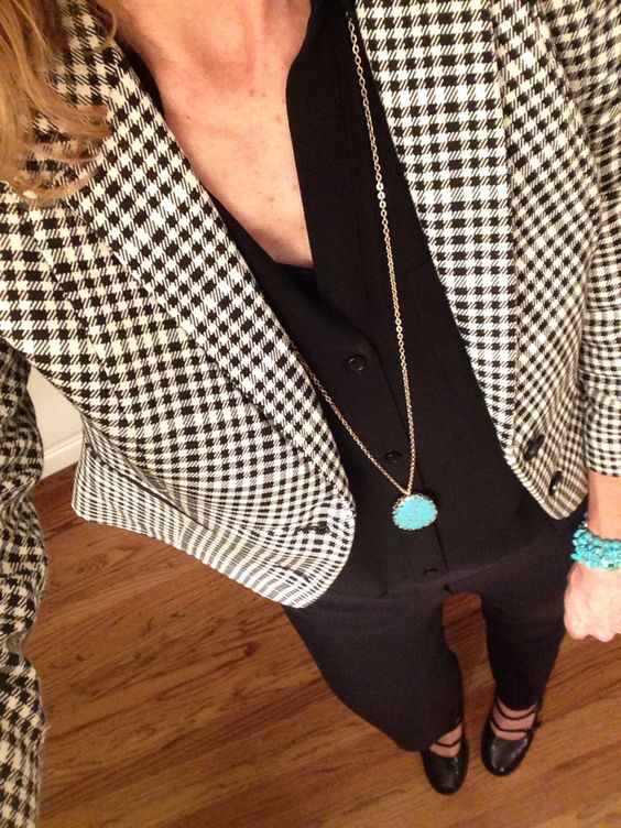 All black, houndstooth, turquoise