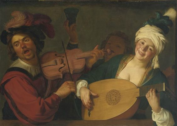 Gerrit van Honthorst, A Merry Group behind a Balustrade with a Violin and a Lute Player, about 1623. Rose-Marie and Eijk van Otterloo Collection. Courtesy, Museum of Fine Arts, Boston.