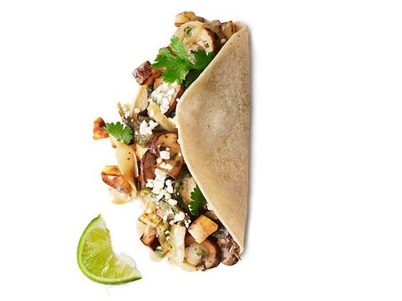 Poblano, Mushroom and Potato Tacos from #FNMag
